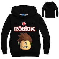 black, white, and brown Roblox pull-up hoodie