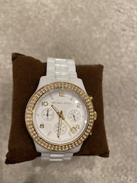 Micheal Kors white watch with crystals