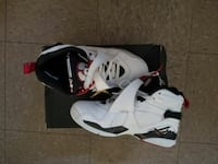 white-and-black Air Jordan basketball shoes with b