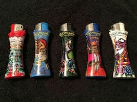 5 refillable Ed Hardy collectible lighters
