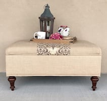Ballard Designs Burlap Storage Ottoman / Coffee Table