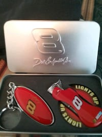 Dale Earnhardt Jr..NASCAR LIGHTER AND KEYCHAIN LOGO and it's in a tin West Saint Paul, 55118