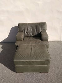 Suede chair & ottoman