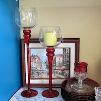 2 Tall Red Glass Candle Holders Christmas Home Dec Mississauga