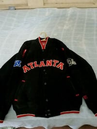 black and red Falcons leather  jacket 617 mi