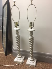 Twisted marble lamp pair