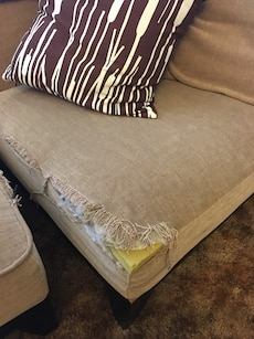 Brown sectional couch with 3 separate pieces