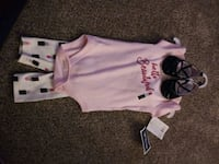 0-3 months little treasure 3 piece outfit