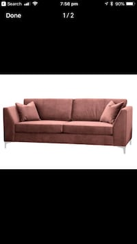 PINK VELOUR BLUSH 2 SEAT distinctly home couch sofa with ottoman Toronto, M5G 0B1