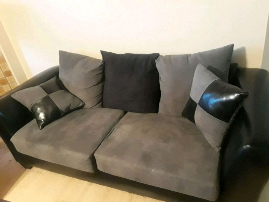 Gray And Black Fabric Sofa And Loveseat