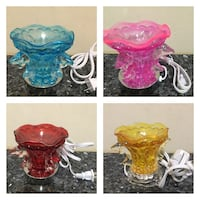 four assorted colors of glass table lamps Bakersfield, 93311