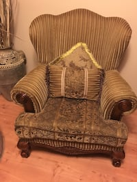 Brown and beige floral fabric sofa chair London, N6J 2J1