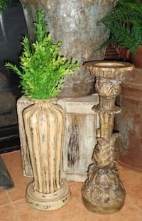 NEW Large Ornate French Country Candle Holder & Vase with Greenery