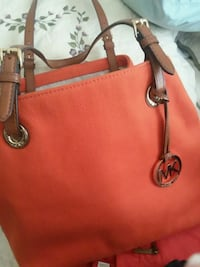 red Michael Kors leather tote bag 307 mi