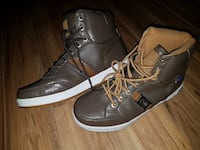 pair of brown leather coogie shoes