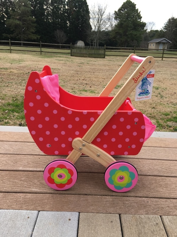 New Dushi Wooden Push And Play Doll Stroller