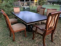 rectangular brown wooden table with six chairs dining set Houston, 77044