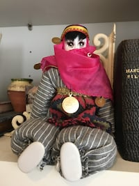 Persian hand painted Gray and white dressed doll New Market, 21774