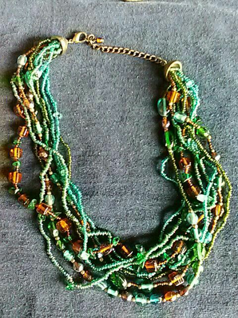 green and orange beaded layered necklace