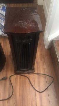 brown wooden base with black lampshade table lamp