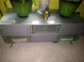 Metal table and drawers glass top very sturdy