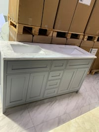 "60"" Double Sink Bathroom Vanity Cabinet with Carrara Marble Top"