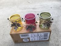 """New set of 3 beautiful glass candle / tealight holders - fall leaf  Each measurements about 4"""" height and 3.5"""" diameter. San Jose, 95121"""