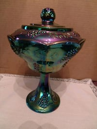 """Indiana Glass """"Harvest Blue"""" Carnival Glass Footed 932 mi"""