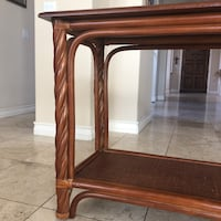 Bamboo entry table with wicker bottom - price negotiable