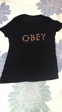 OBEY black t shirt with floral design Toronto