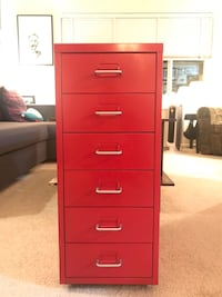 Red Metal Six Drawer Unit on Wheels Arlington, 22204