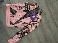 Pink and multicolored tree camouflage pullover hoodie