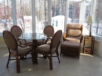 Brown wooden framed glass top dining table set Longueuil, J4V 2X2