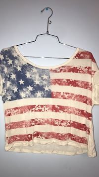 white, blue and red USA flag printed boat-neck crop-top