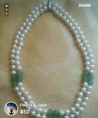 silver and white beaded necklace