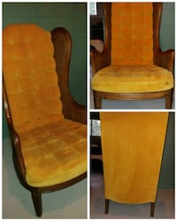 Cane winged back gold velvet padded armchair West Bloomfield Township, 48324