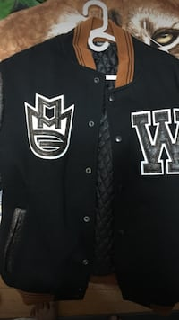 black and brown letterman jacket