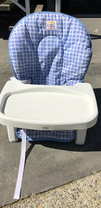baby's white and blue high chair Burnaby, V5E 1Y9