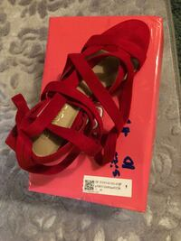 red leather open-toe ankle strap heels Warsaw, 41095