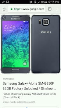 black Samsung Galaxy Alpha .Unlocked Winnipeg, R2X