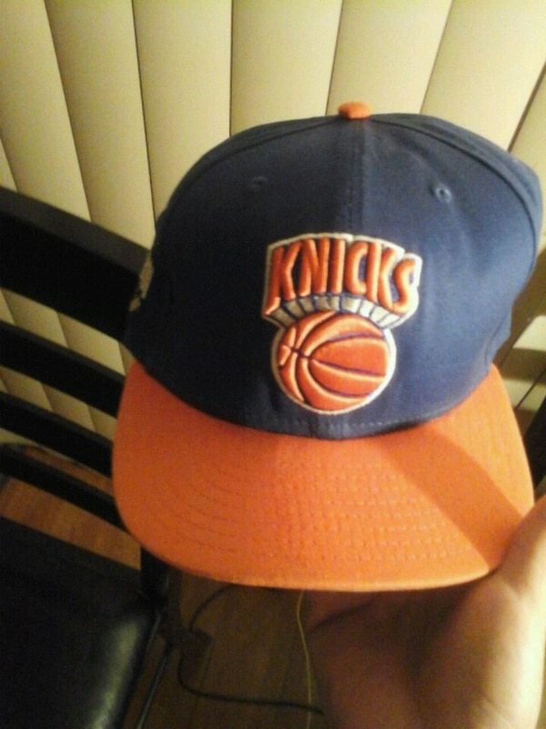 blue and orange Knicks fitted cap