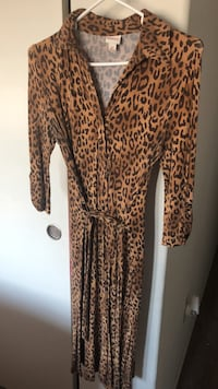 brown and black leopard print long-sleeved dress