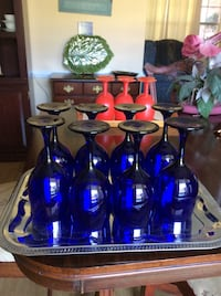 8 Blue glass wine goblets. Very old no chips in perfect condition. PRICED REDUCED Port Orange, 32129