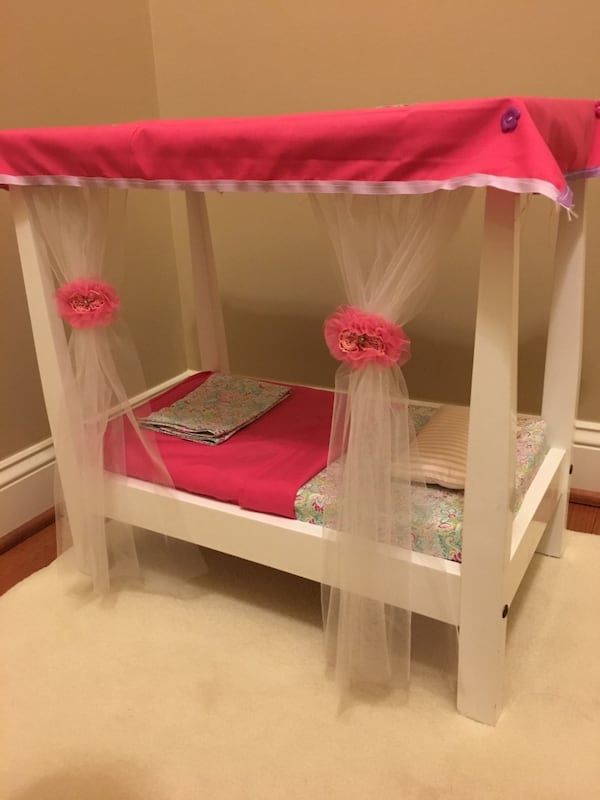 Doll bed with canopy fits American Girl doll 6f484f8e-1156-46b8-9e2e-e25bc2bf7d1b