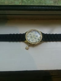 round gold-colored analog watch with black leather strap San Jose, 95138