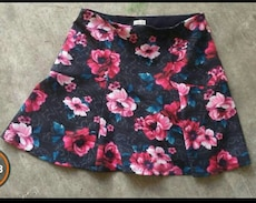 women's black and pink floral midi skirt