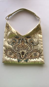 gold-colored floral leather hobo bag Gatineau, J8T 5N7