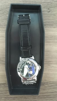 round silver frame batman themed analog watch with black leather straps in box Saskatoon, S7R