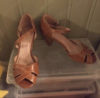 pair of brown leather kitten heel ankle strap shoes Toronto, M1X