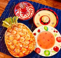Set of colorful ceramic party dishes